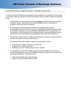 Clinical Documentation Integrity Fact Sheet – Discharge Summary