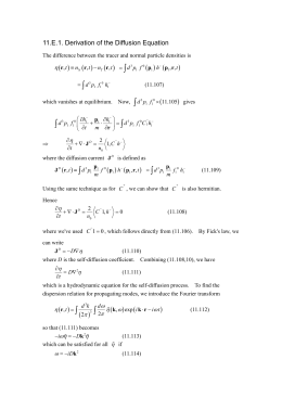 11.E.1. Derivation of the Diffusion Equation