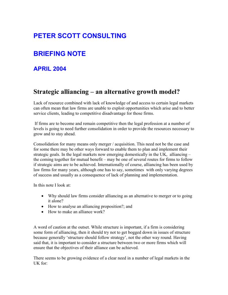 Strategic alliancing – an alternative growth model