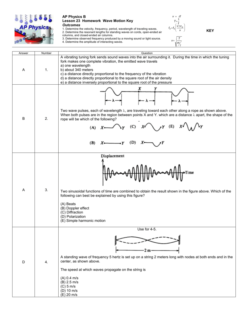 Worksheets Doppler Effect Worksheet ap physics assignments filesap lesson 23 hw key