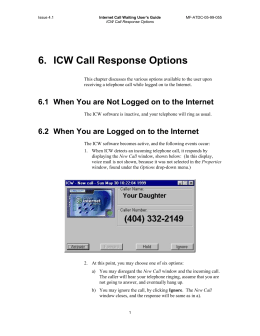 Section 6: ICW Call Response Options
