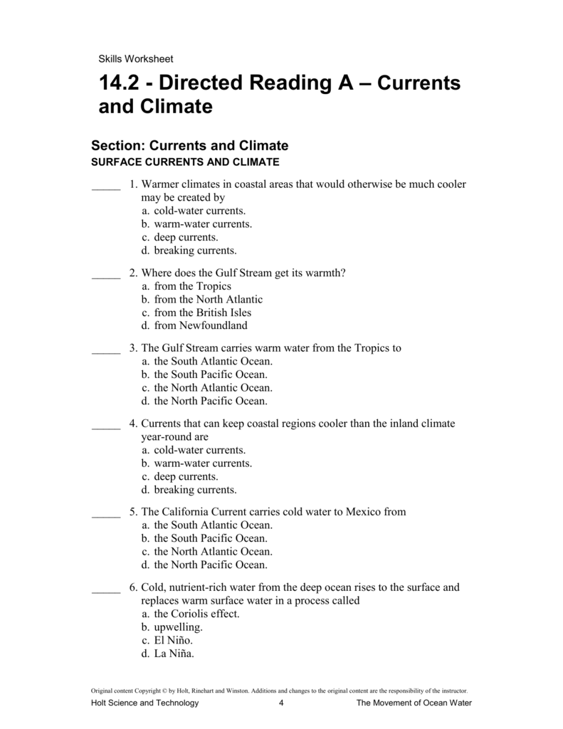 142 Directed Reading A Currents And Climate