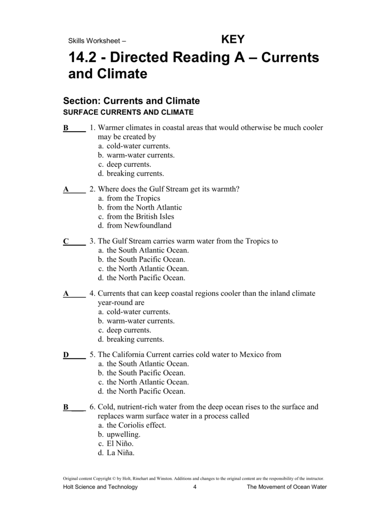 142 KEY Directed Reading A – Coriolis Effect Worksheet