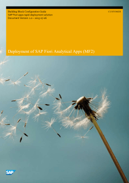 SAP Fiori Analytical Apps Deployment