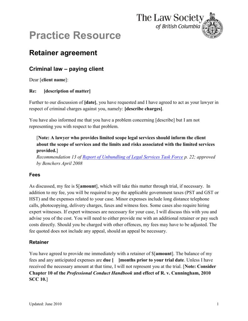 Practice Resource Retainer Agreement Criminal Law