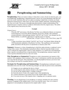 Paraphrasing - The Evergreen State College