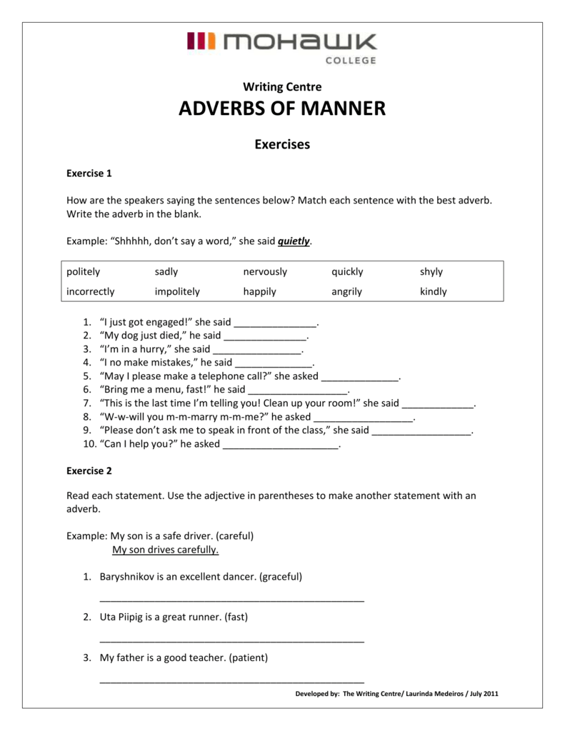 Adverbs of Manner Exercises