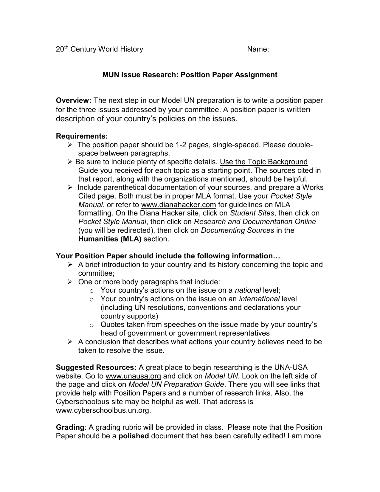 issue position paper topics