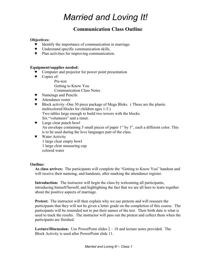 Communication Class Outline/Prep