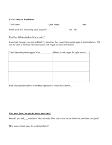 Error Analysis Worksheet