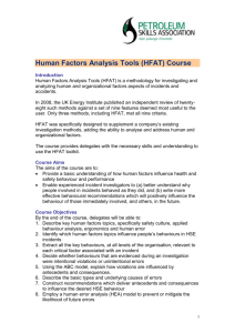 Human Factors Analysis Tools