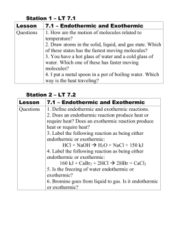 Station 1 – LT 7.1 Lesson 7.1 – Endothermic and Exothermic