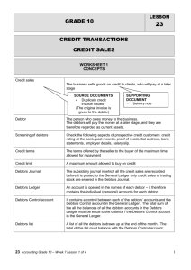 GRADE 10 LESSON 23 CREDIT TRANSACTIONS CREDIT SALES
