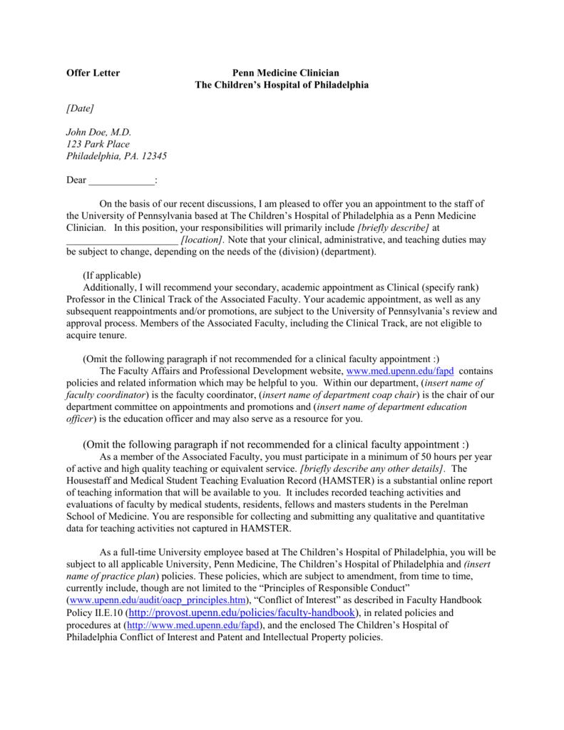 Offer Letter University of Pennsylvania