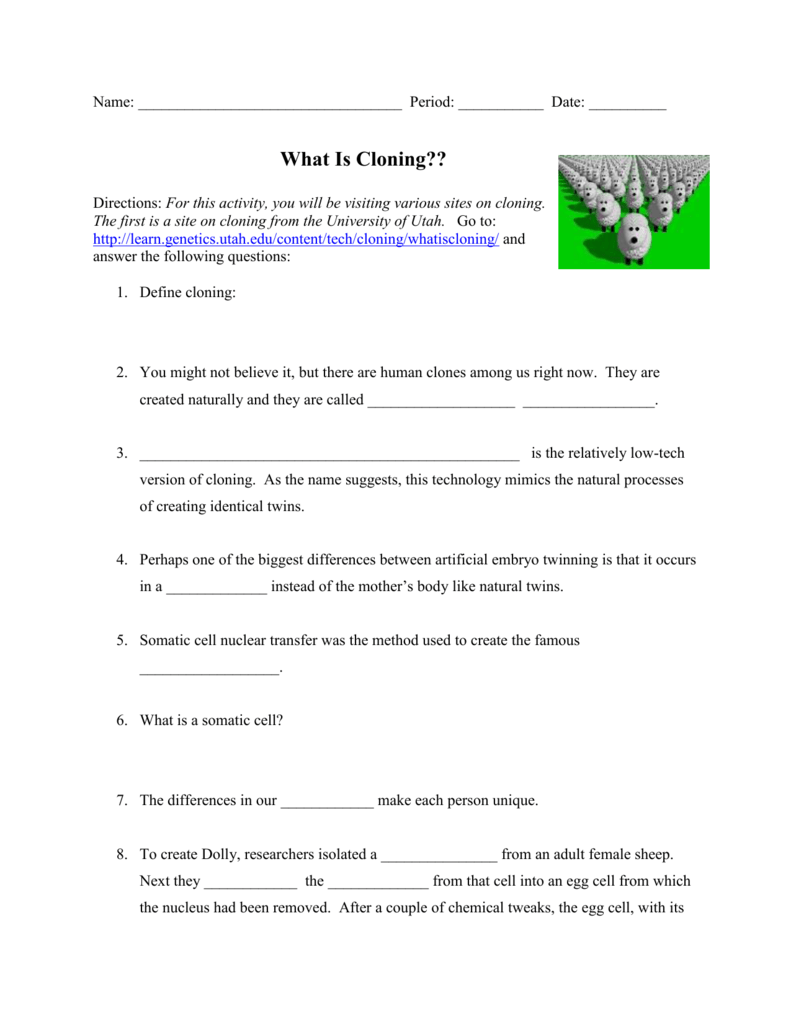 Cloning Student Worksheet - Bioinformatics Activity Bank