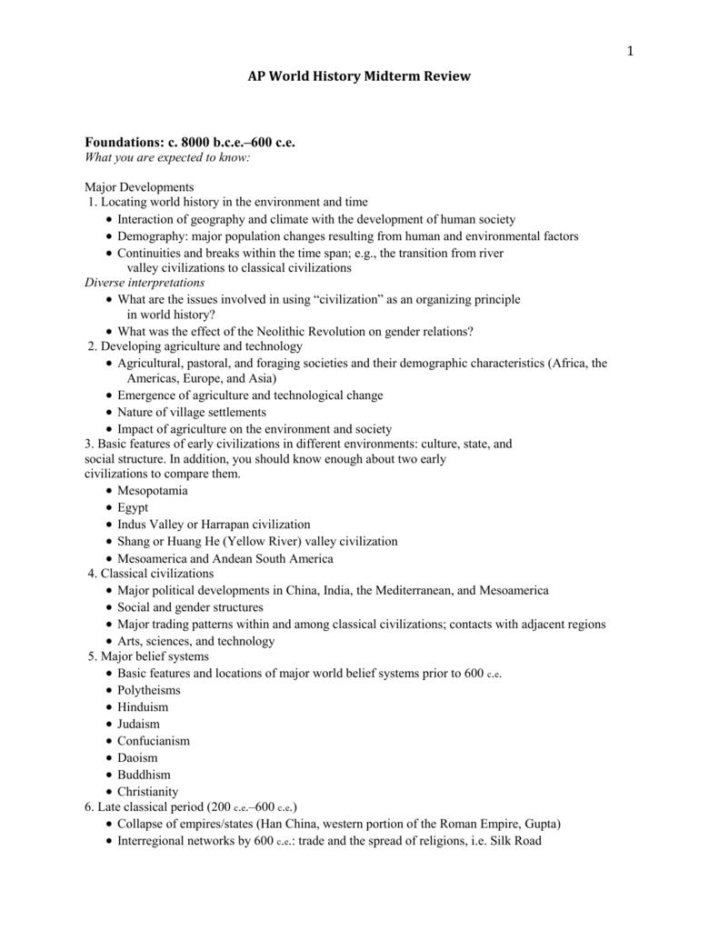 ap world midterm review