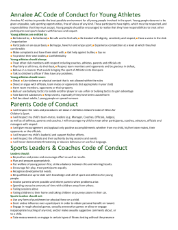 Annalee AC Code of Conduct for Young Athletes