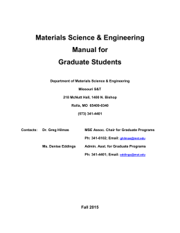 MSE Grad Student Handbook - Materials Science & Engineering