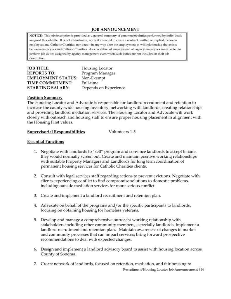 job description - Catholic Charities of Santa Rosa