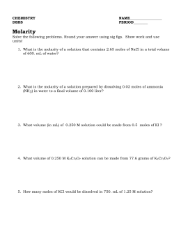 Mixed Mole stoichiometry worksheet