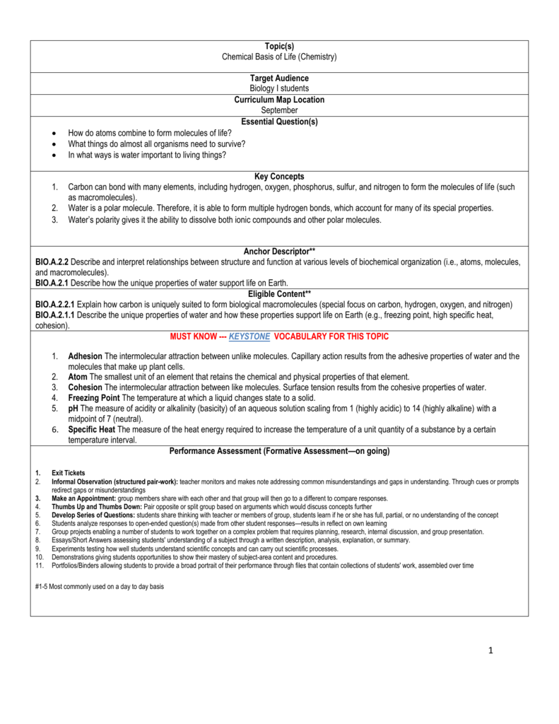 Topics Chemical Basis of Life Chemistry Target Audience Biology – Molecules of Life Worksheet