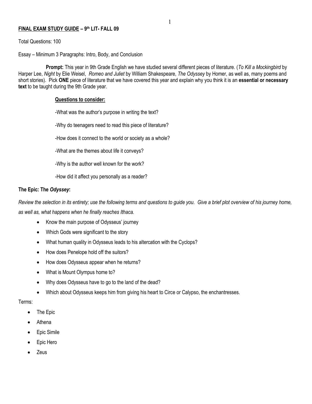 FINAL EXAM STUDY GUIDE – 9TH GRADE LITERATURE AND
