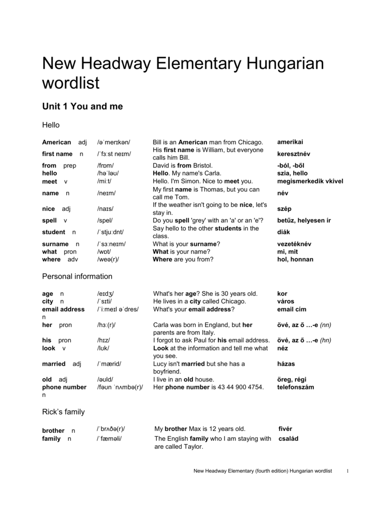 20fe16d65e92 New Headway Elementary Hungarian wordlist Unit 1 You and me
