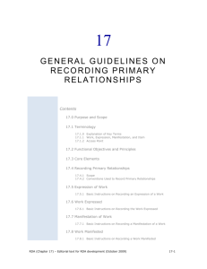 17 General Guidelines on Recording Primary Relationships