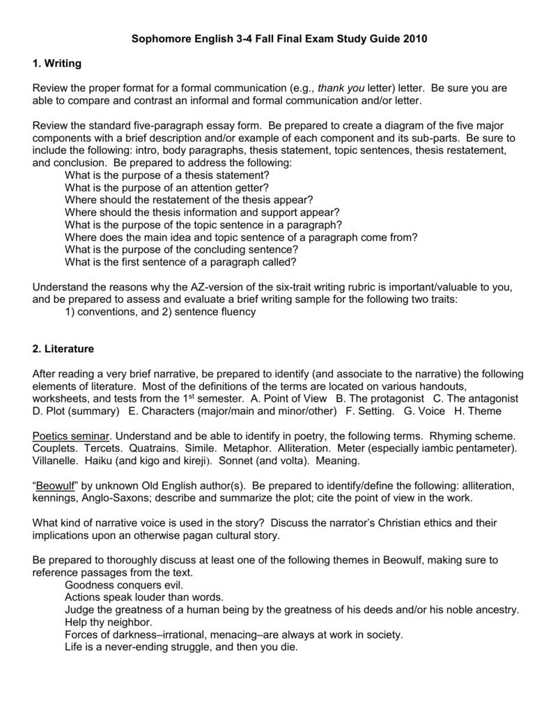 final exam study guide fall semester 2012 essay