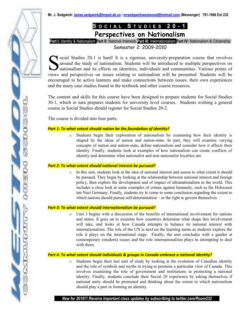 Social Studies 20 1