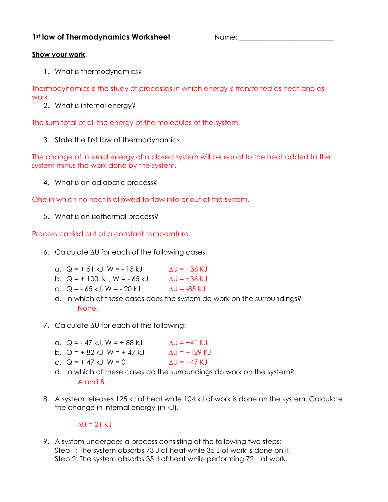 Thermodynamics Worksheet - Chapter 6 Thermodynamics Worksheet 1 ...