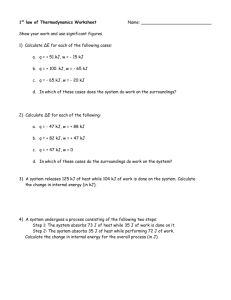 1st law of Thermodynamics Worksheet
