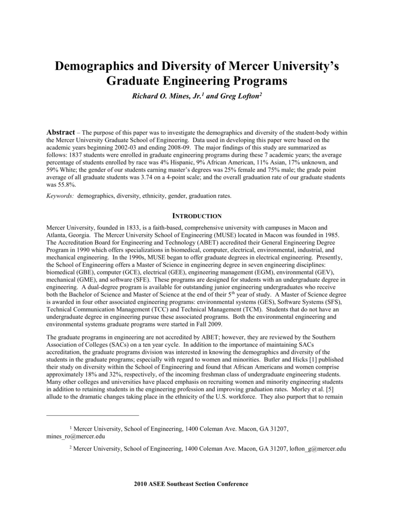Demographics and Diversity of Mercer University's - ASEE