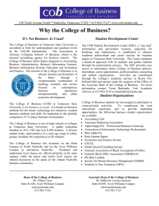 Why the College of Business - Tennessee State University