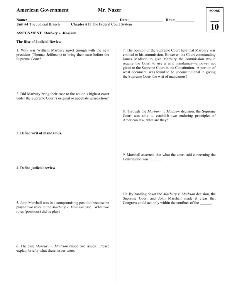 Workbooks thomas jefferson worksheets : Marbury v. Madison