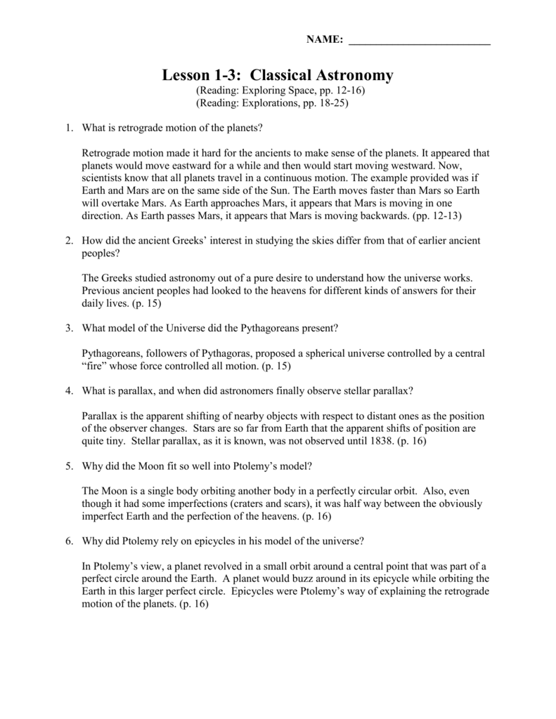 Lesson 1-3 Worksheet (Key) Classical Astronomy