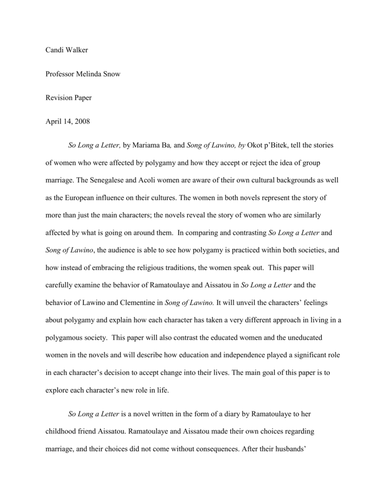so long a letter polygamy essay Understanding, this paper attempts a critical reading of a novella so long a letter by a senegalese feminist writer  tradition, women, polygamy, patriarchy.