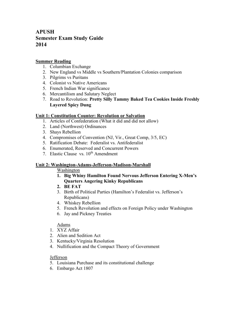 Apush Semester 2 Final Study Guide