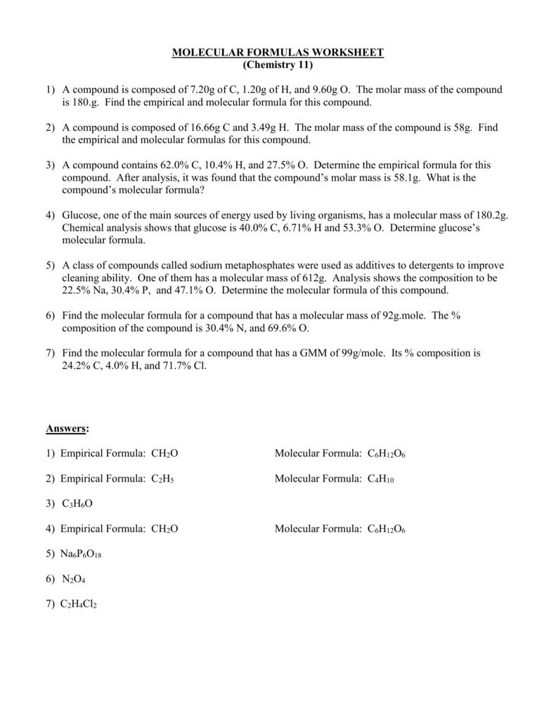 Molecular Formulas Worksheet
