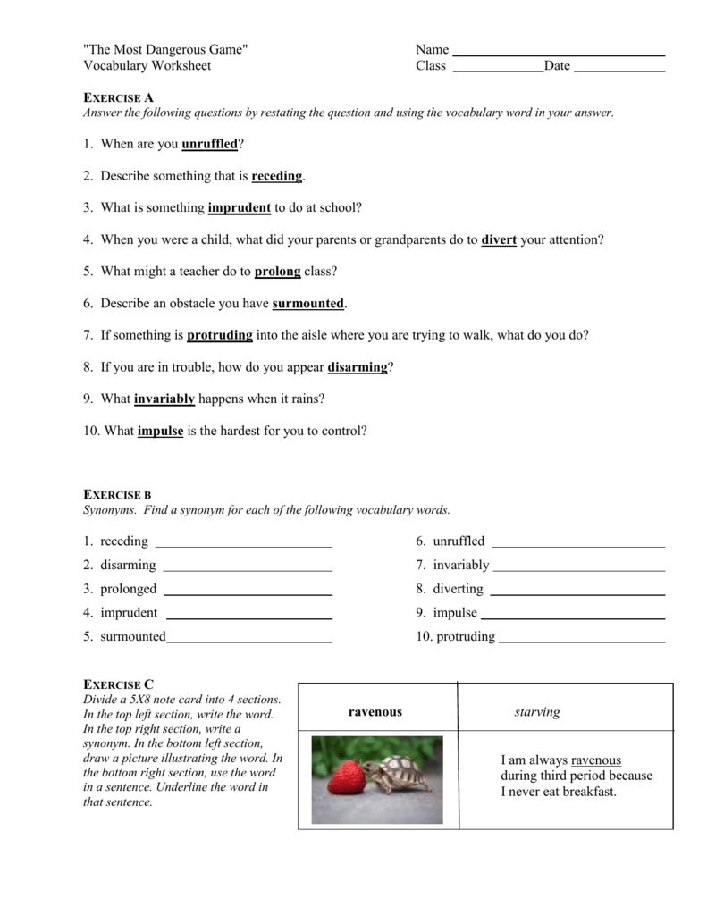 Uncategorized The Most Dangerous Game Worksheet the most dangerous game vocabulary worksheet termolak vocabulary