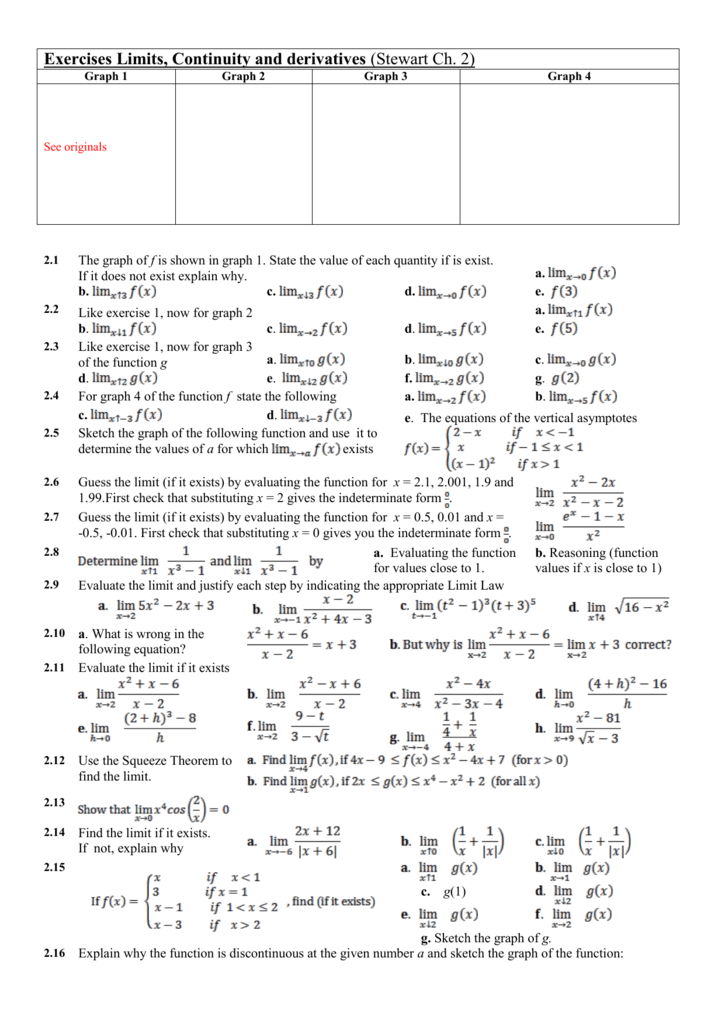 Exercises Limits, Continuity and Derivatives