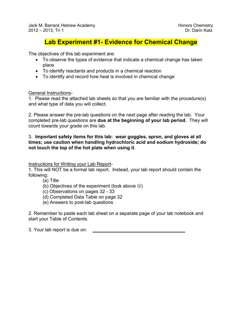 lab report on observation of chemical change