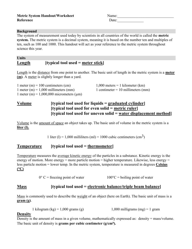 Metric System Handoutworksheet Name