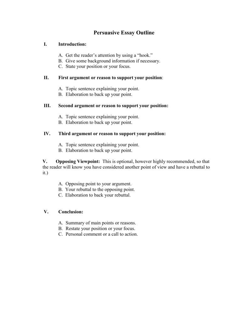 persuasive essay outline with rebuttal