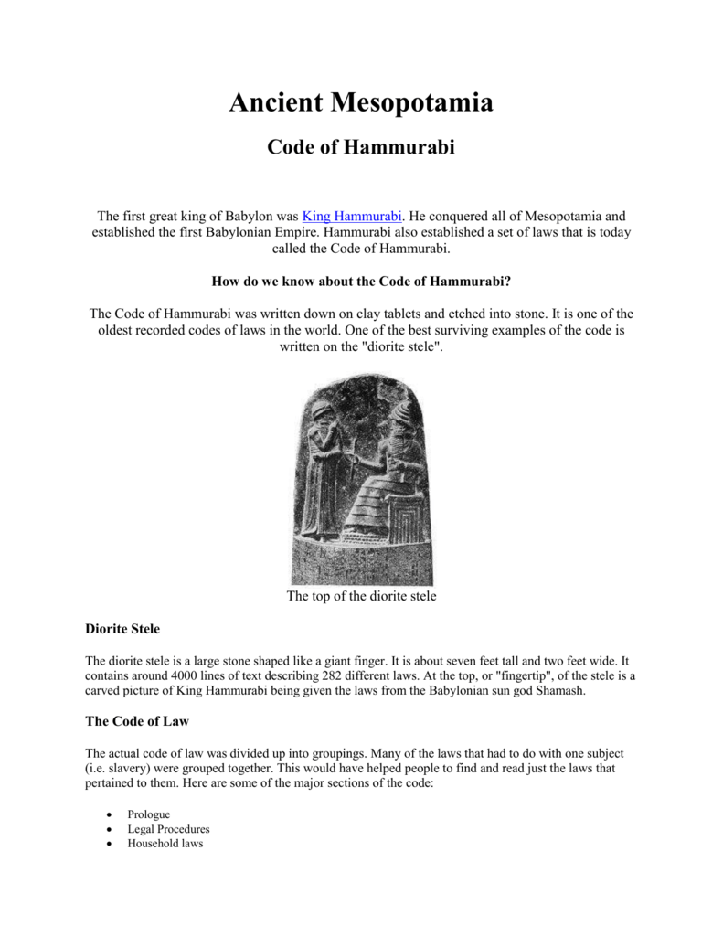 an analysis of the code of hammurabi a set of laws of ancient babylonia
