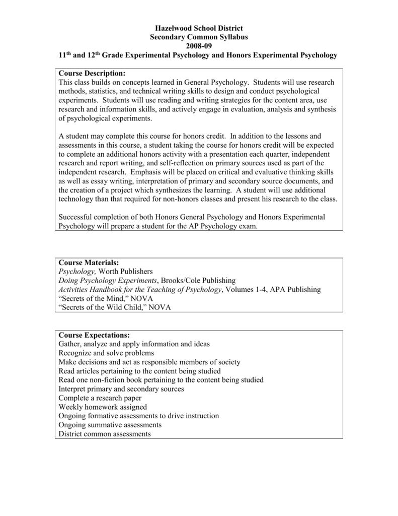 experimental psychology project ideas