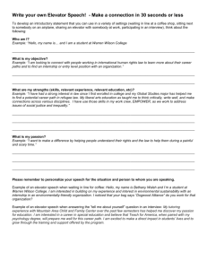Elevator Speech Worksheet
