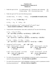 Chemistry I-H Thermodynamic Problem Set #2 Solution Set 1