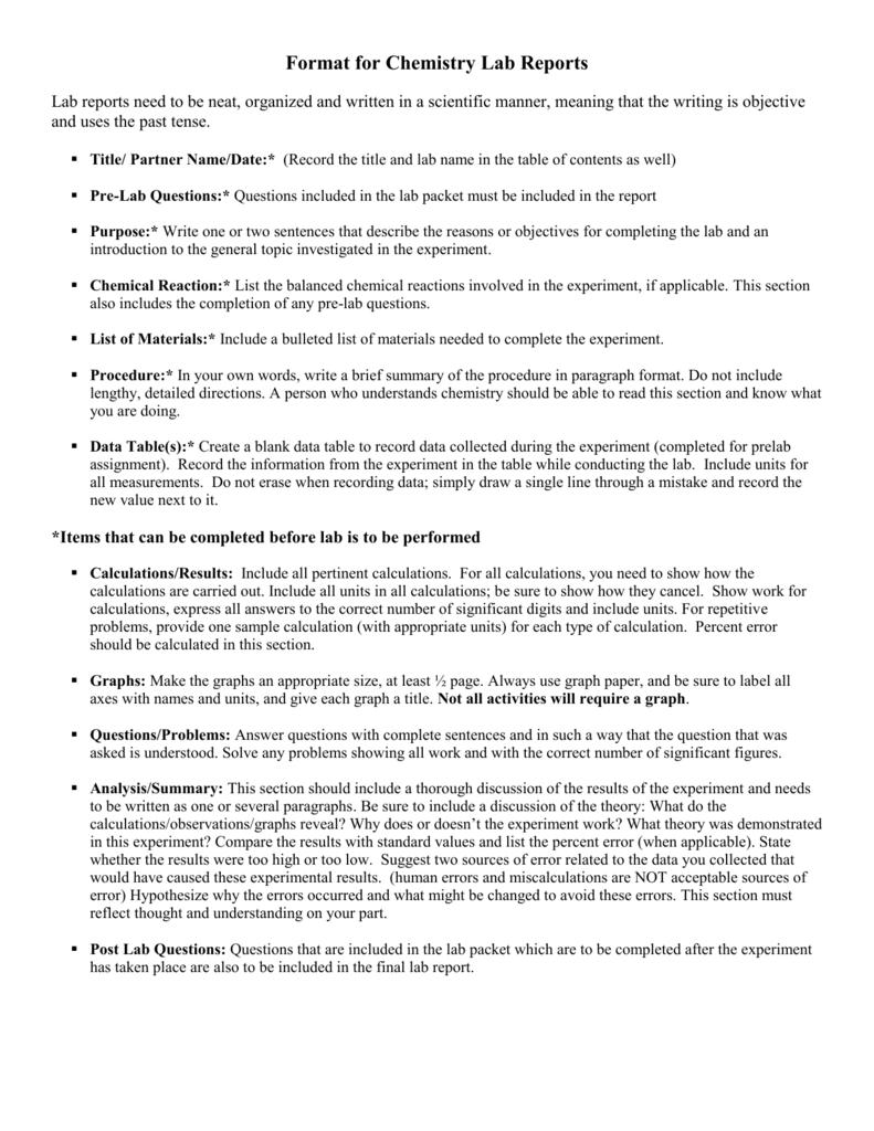 AP Chemistry Lab Report Format – Chemistry Lab Report