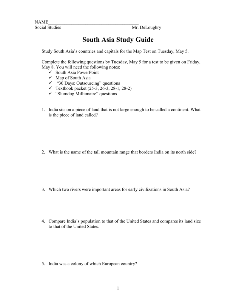 South Asia Map Test.South Asia Study Guide